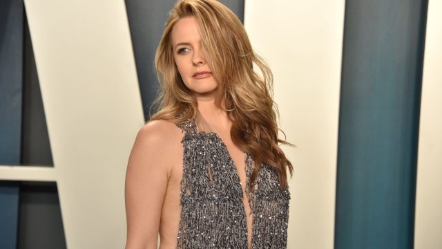 alicia silverstone in sparkly beaded silver dress at vanity fair oscars afterparty
