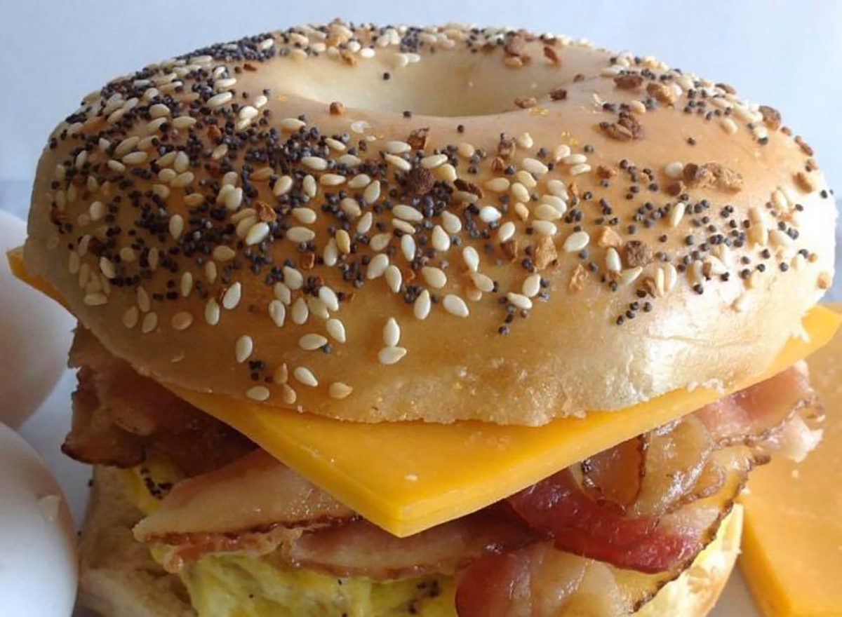 everything bagel with bacon egg and cheese
