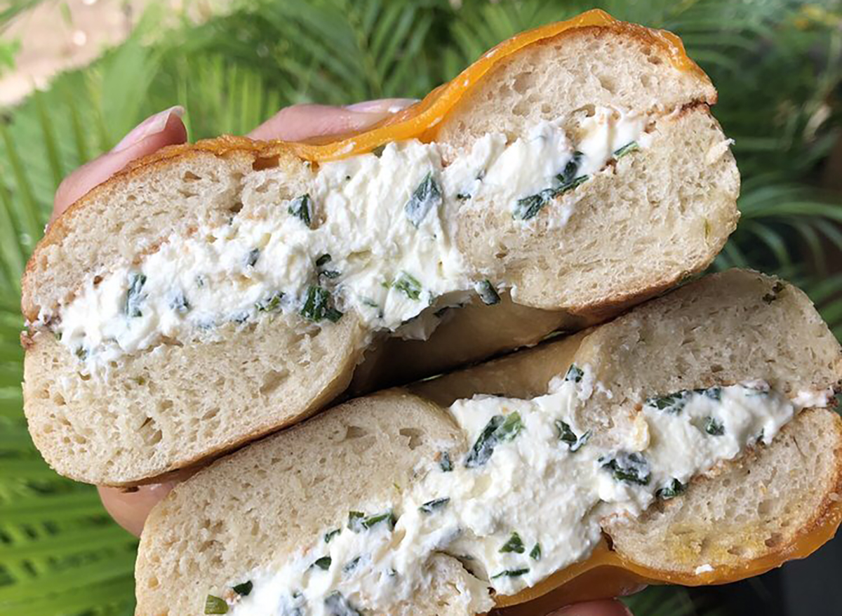 bagel with chive cream cheese