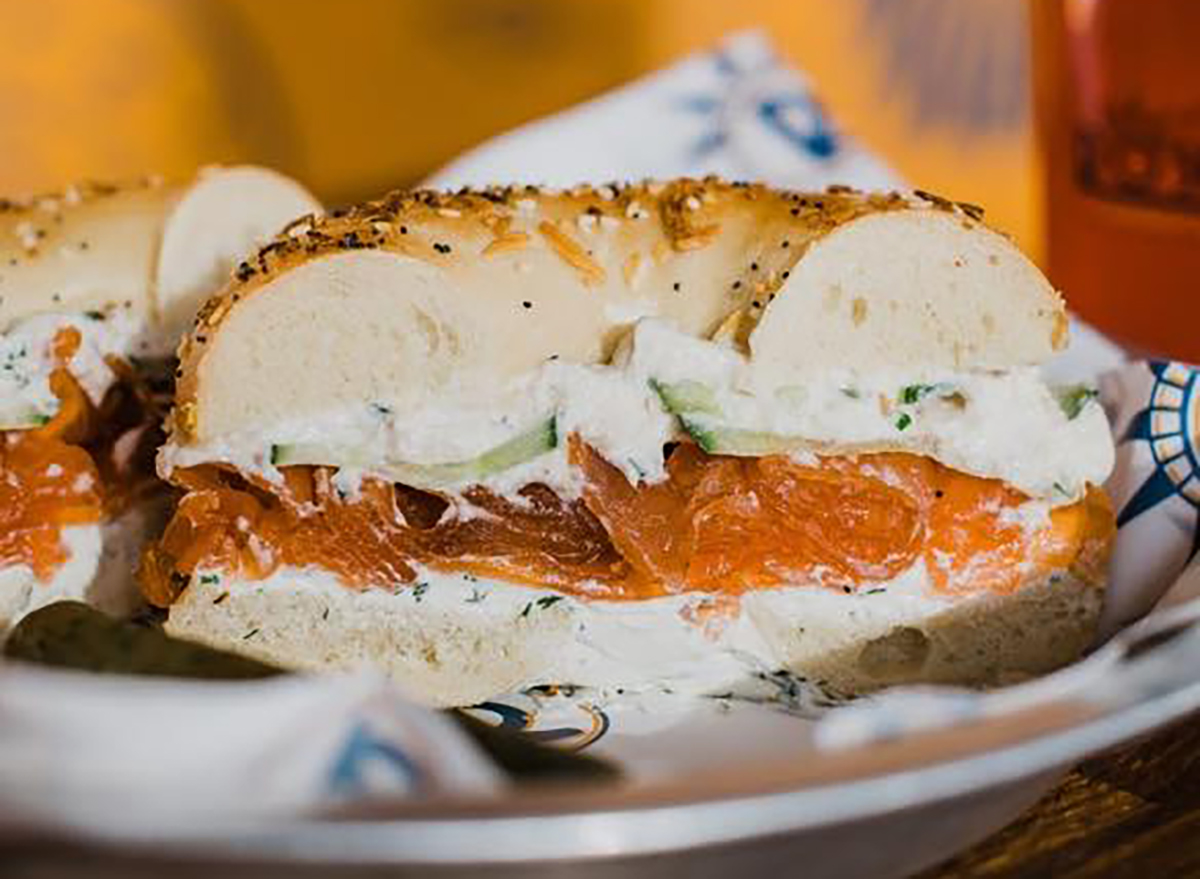 bagel with lox cream cheese and cucumbers