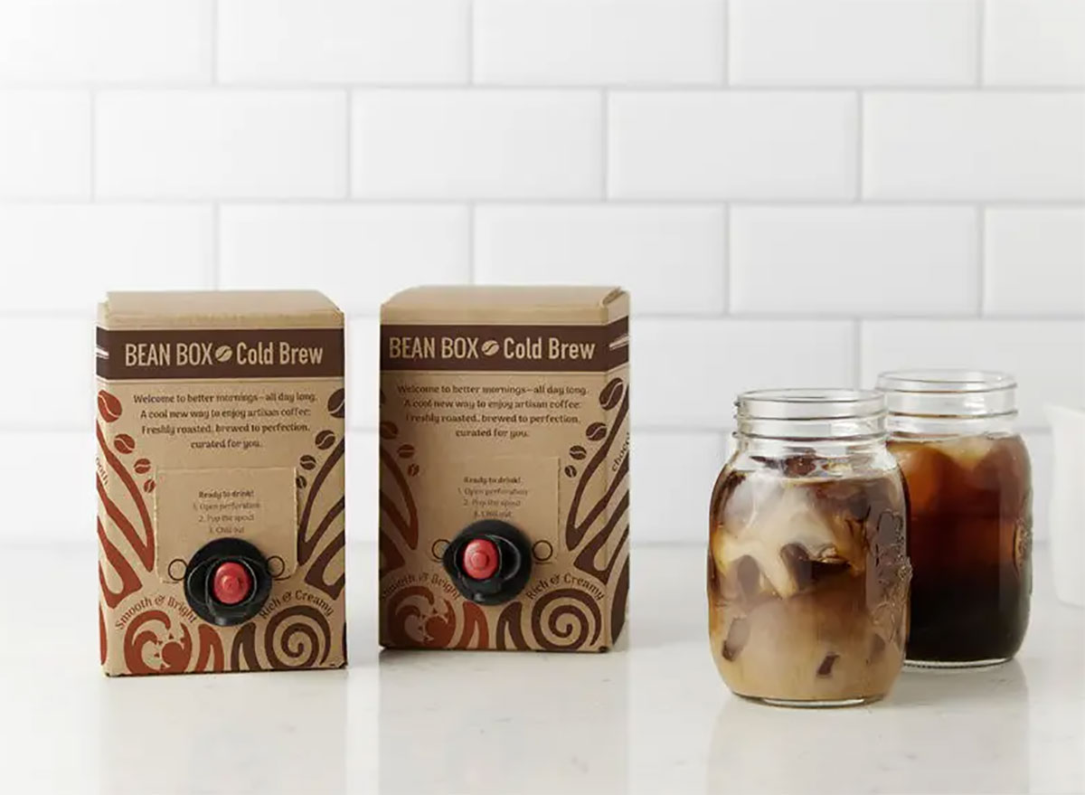boxes of bean box cold brew with mason jars of coffee