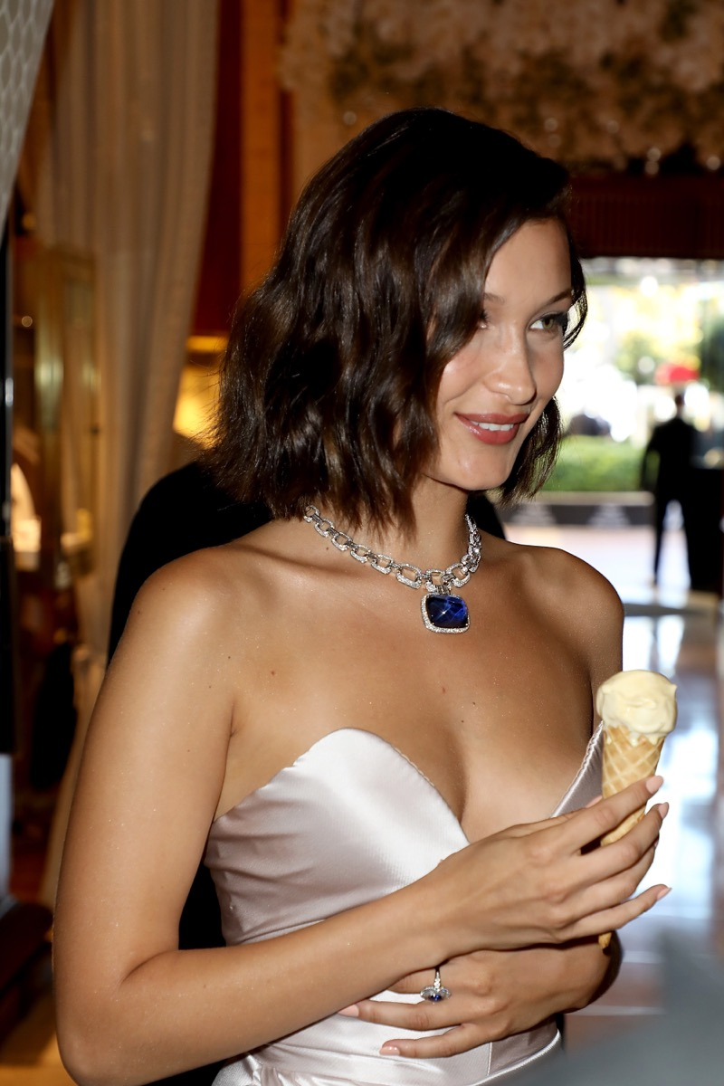 bella hadid eating ice cream in satin gown