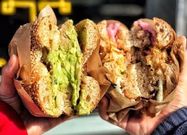 two bagel sandwiches