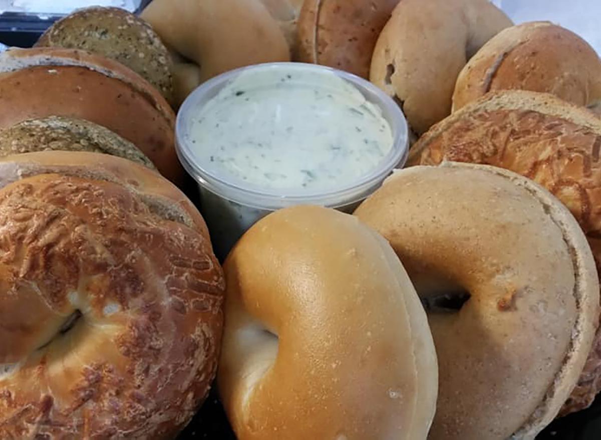 bagel halves with dip