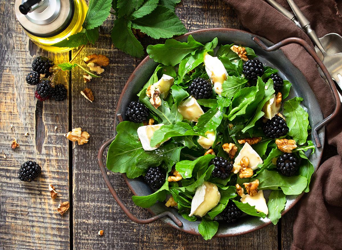 brie salad with fresh blackberries