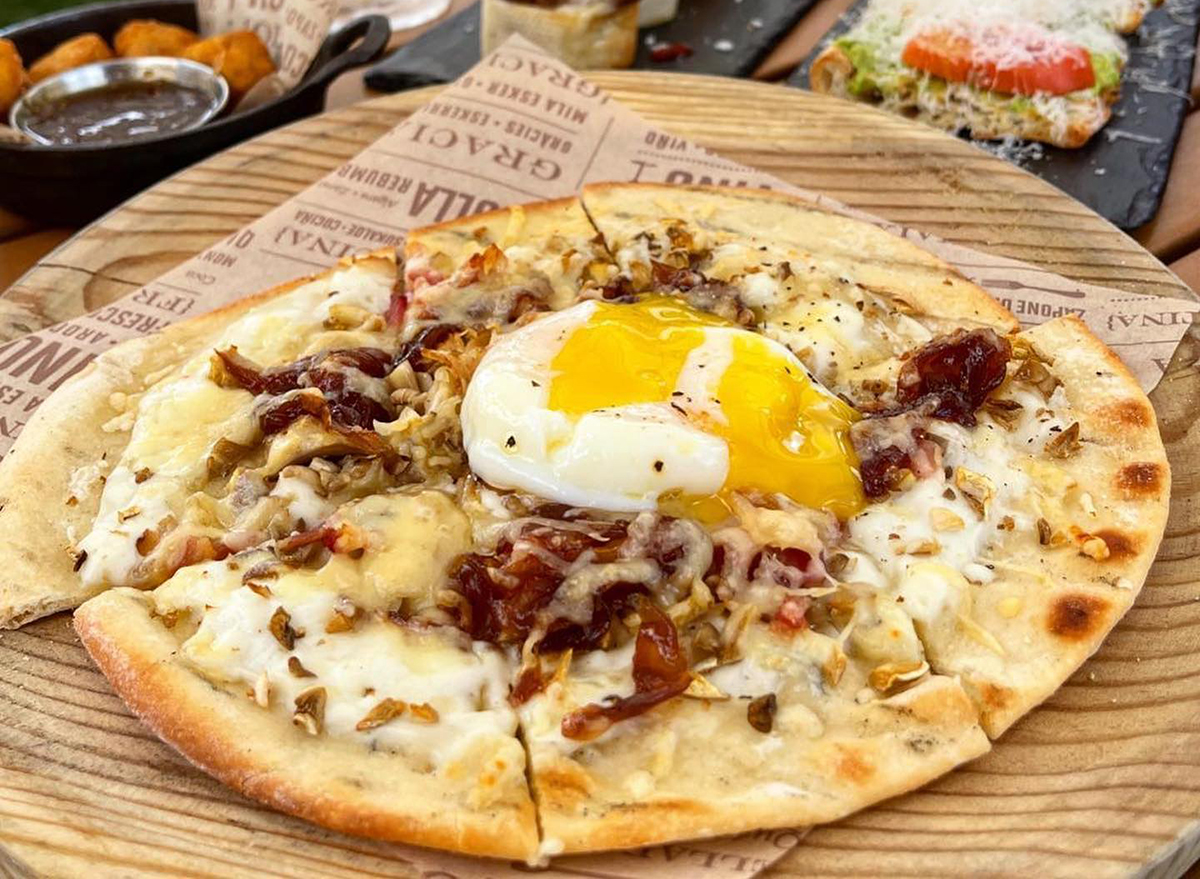 flatbread topped with egg