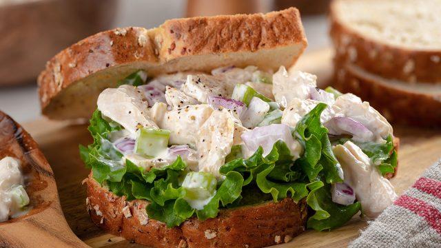 chicken salad sandwich close up