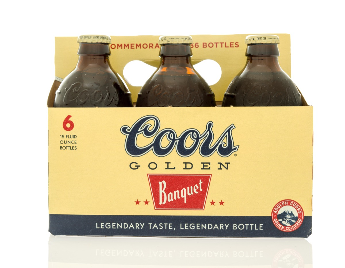 six pack of coors banquet beer in bottles