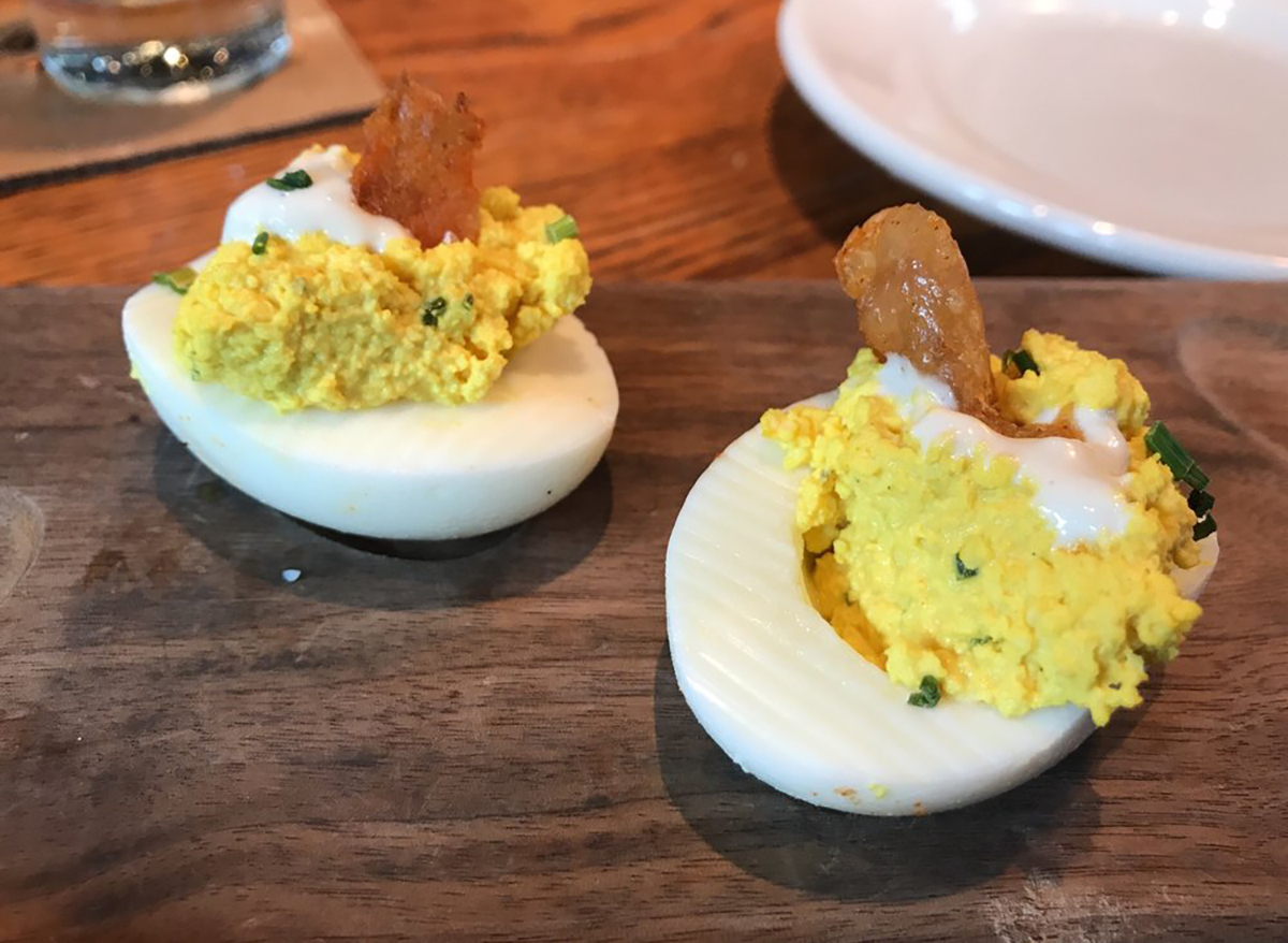 two deviled eggs