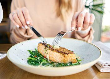 eating salmon
