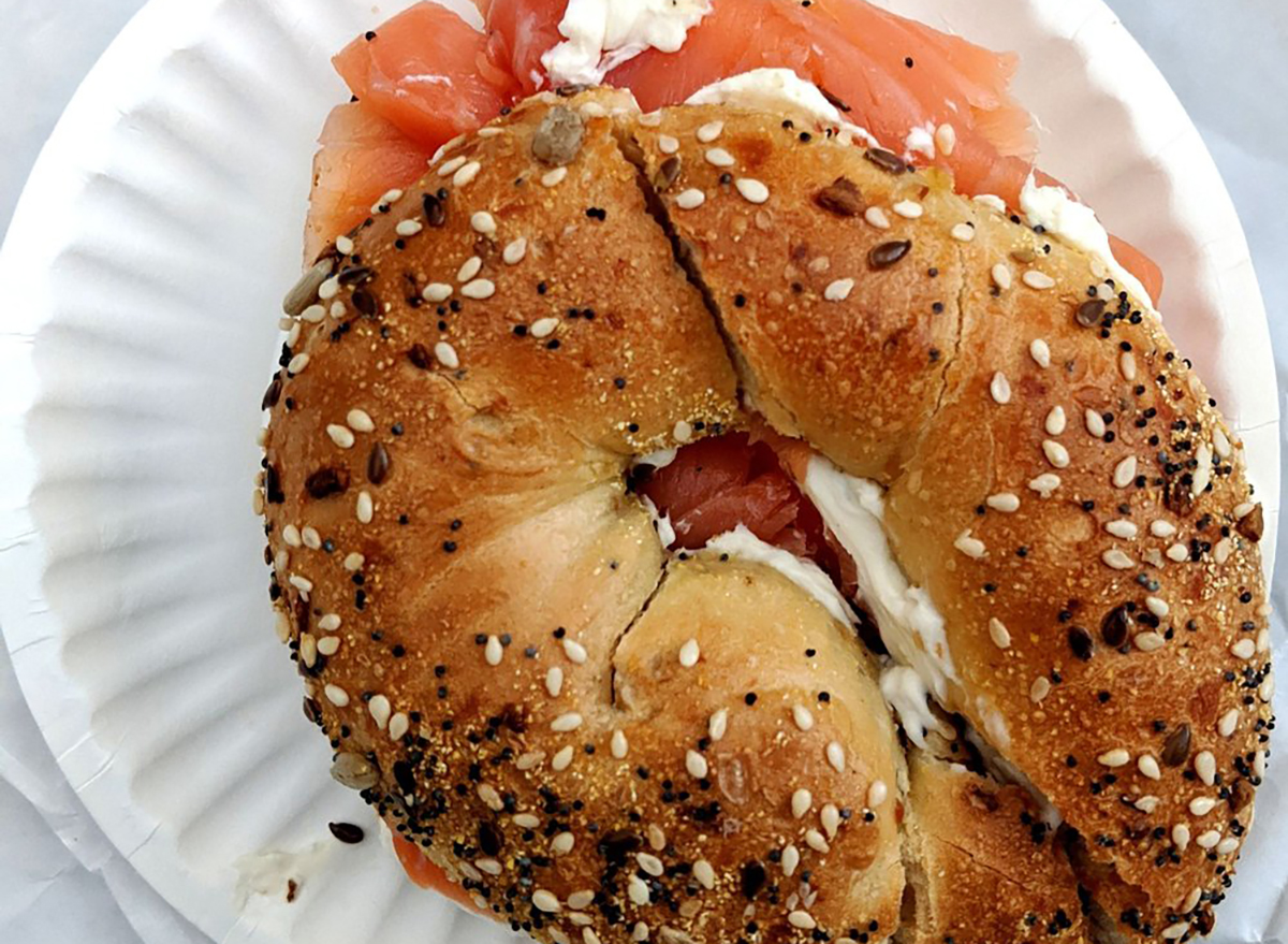 everything bagel with lox and cream cheese