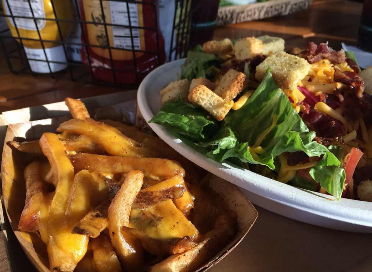 house salad with fries