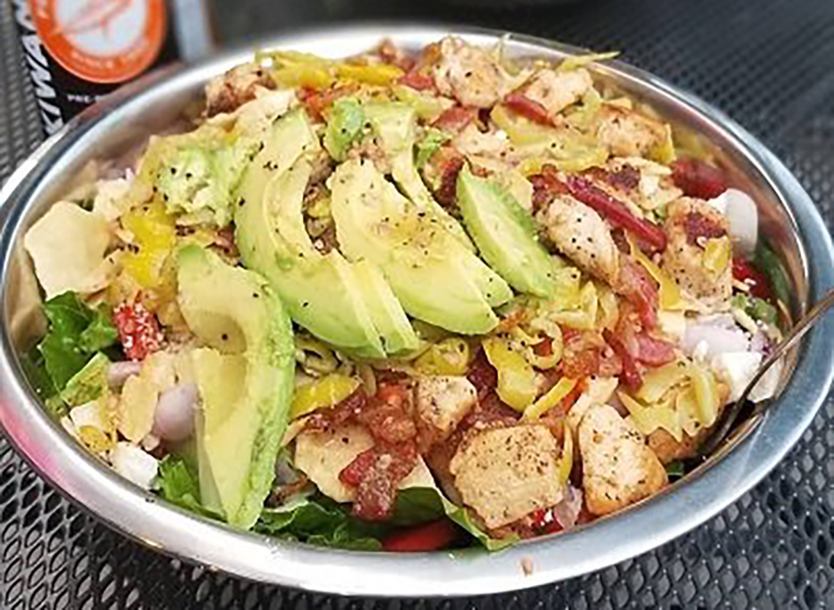 chopped salad with croutons and avocado