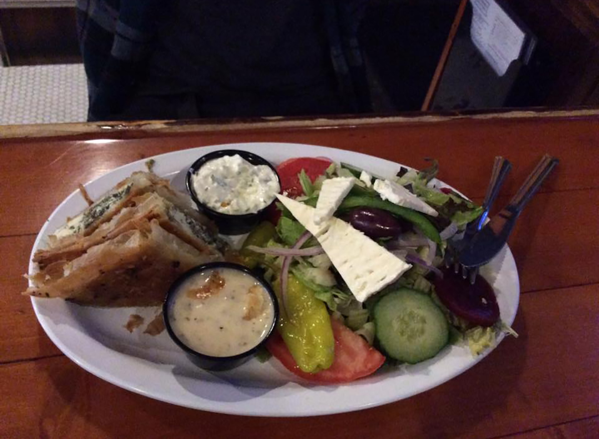 greek salad with spinach pie