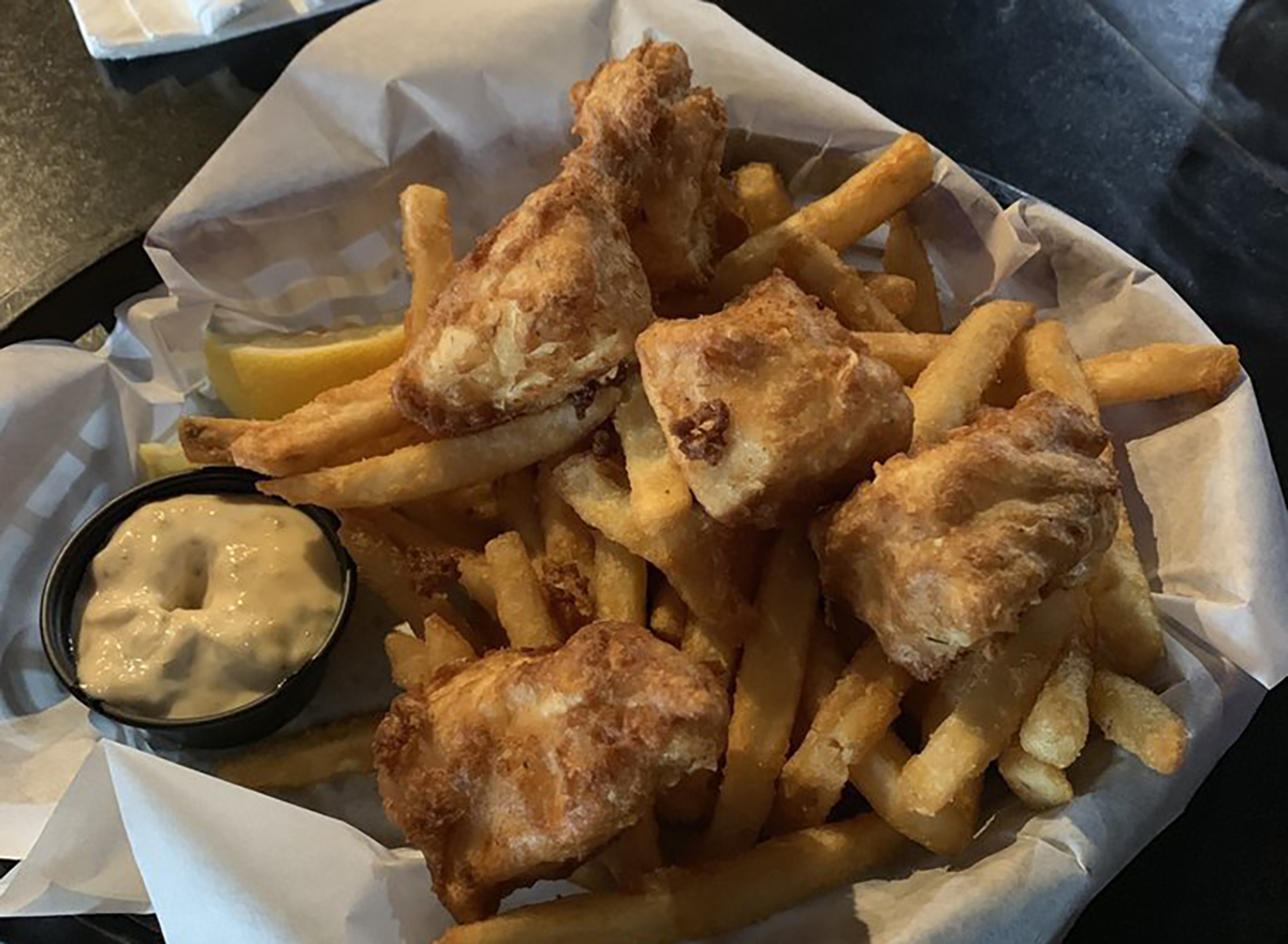fried fish and chips with tartar sauce