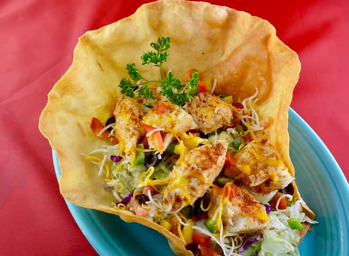 taco salad made with halibut