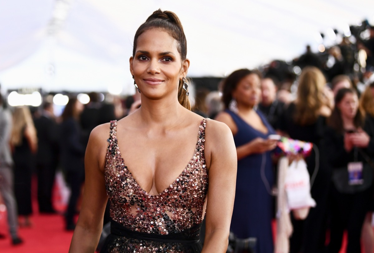 halle berry in sequinned dress on red carpet