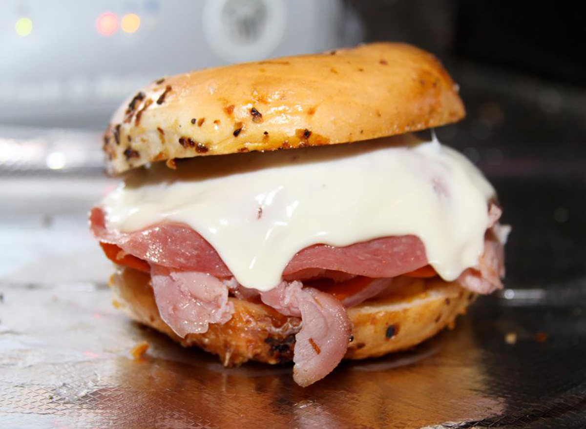 bagel with salami and provolone