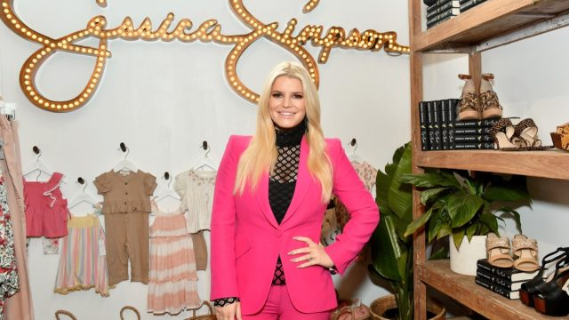 jessica simpson in front of children's clothing