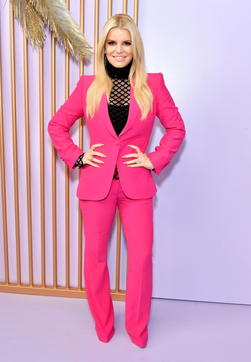 jessica simpson in pink suit and black top
