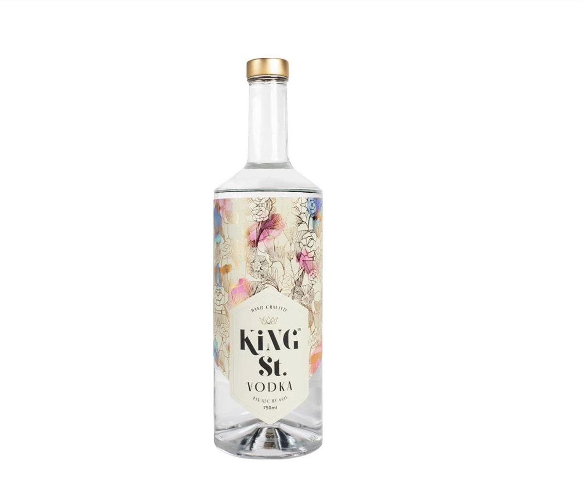 bottle of floral-print king street vodka