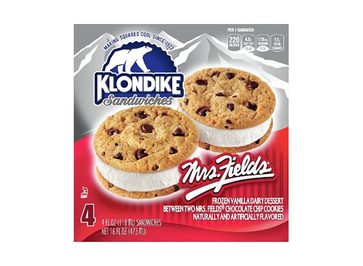klondike mrs fields cookie ice cream sandwich