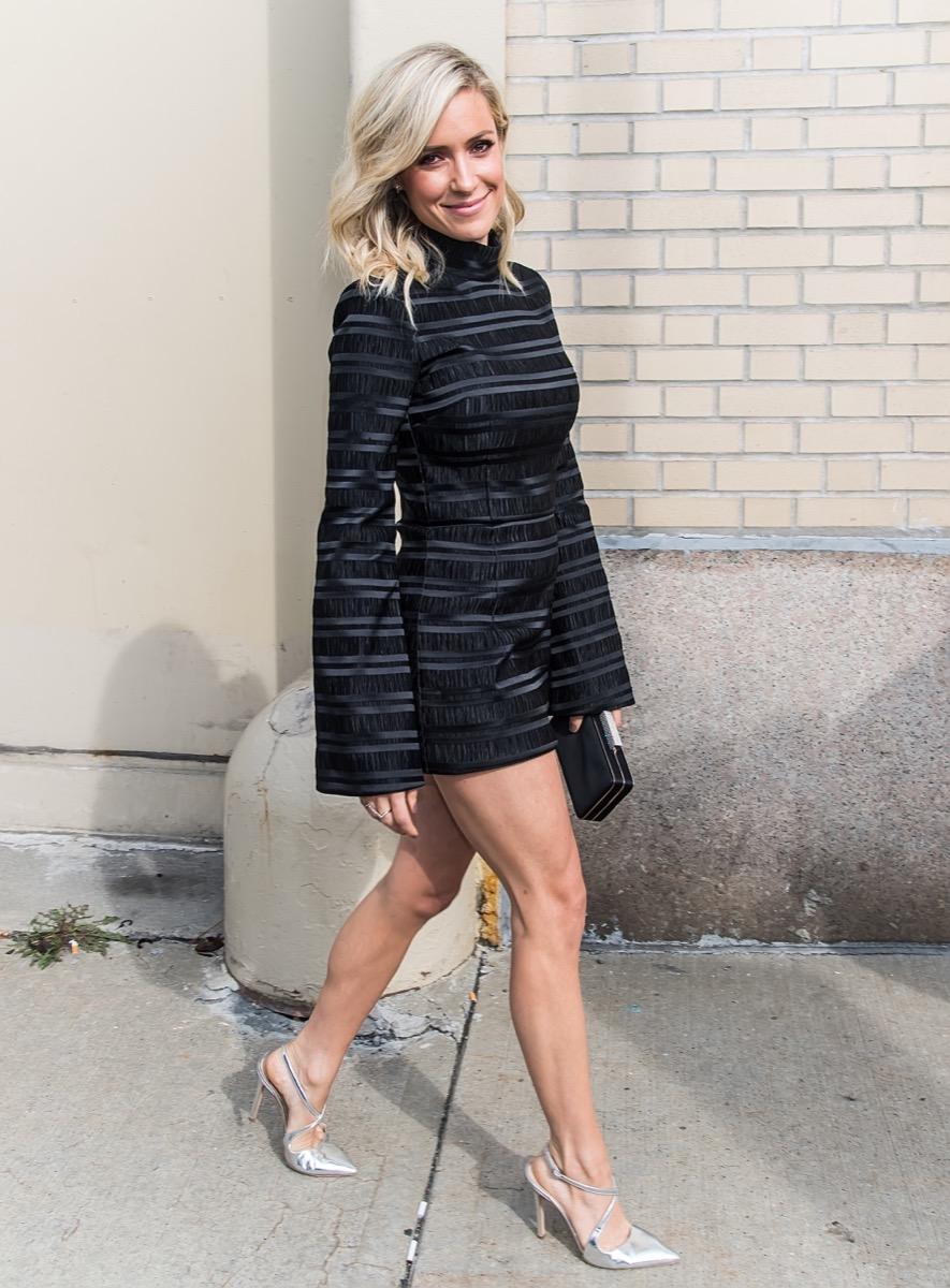 kristin cavallari outdoors in short black coat