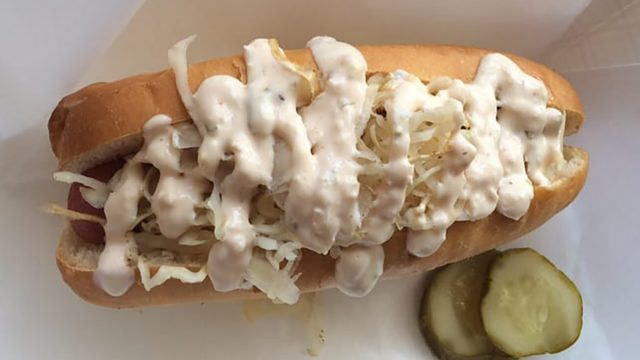 loaded veggie dog with pickles