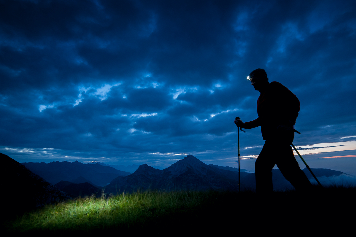 man walking for exercise at night walker