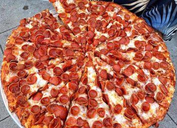 mountain mikes mountain size pizza