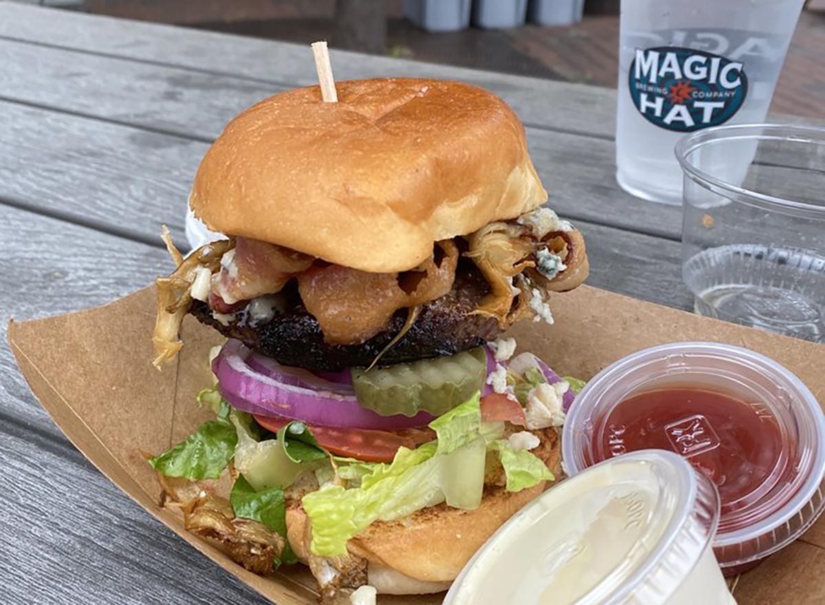 burger with ketchup and mayo