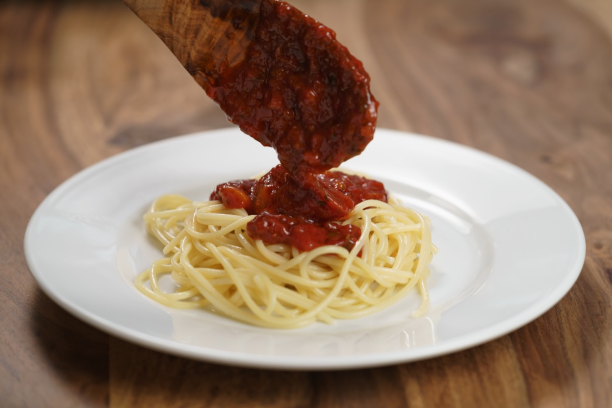 Bolognese sauce on spaghetti.