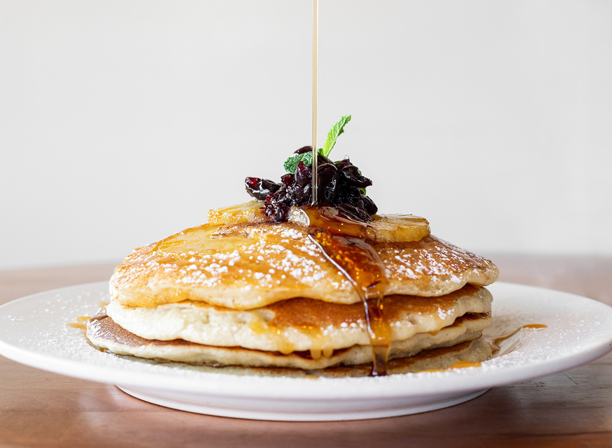 stack of pineapple upside down pancakes