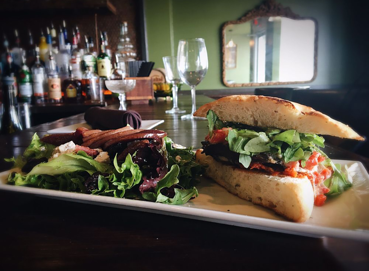 portobello sandwich with arugula salad