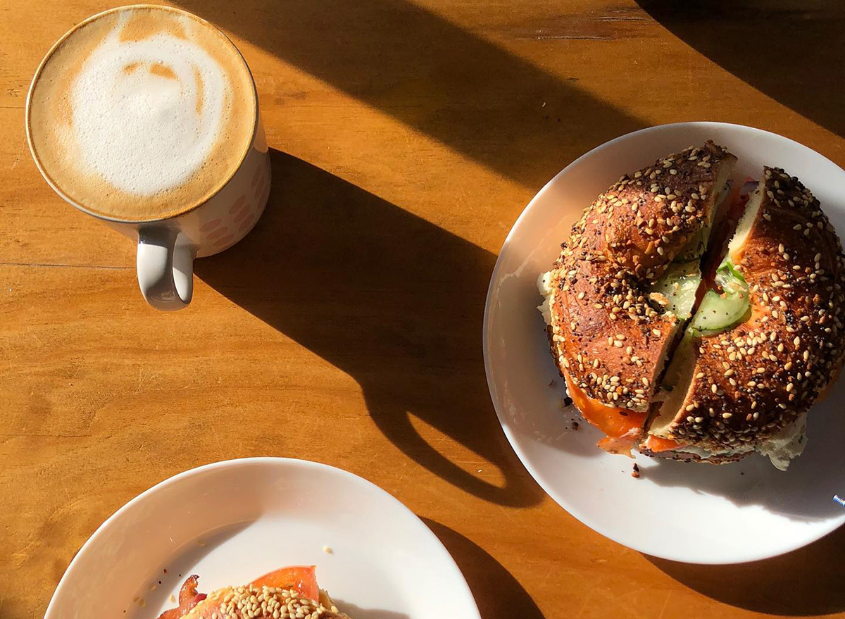 everything bagels with coffee