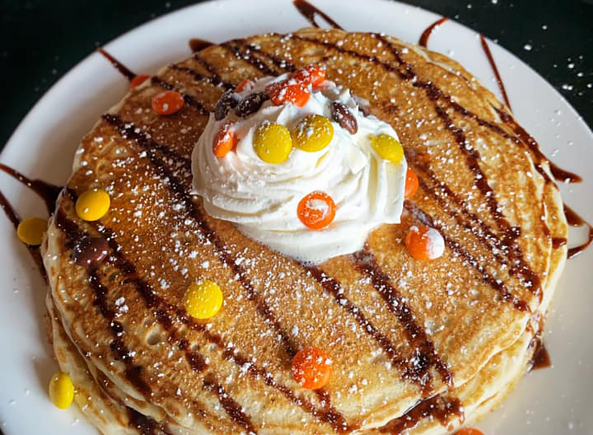 pancakes topped with reeses pieces