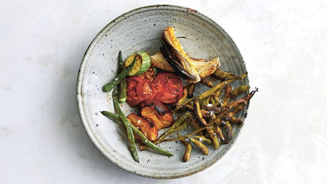 roasted summer vegetables on a plate