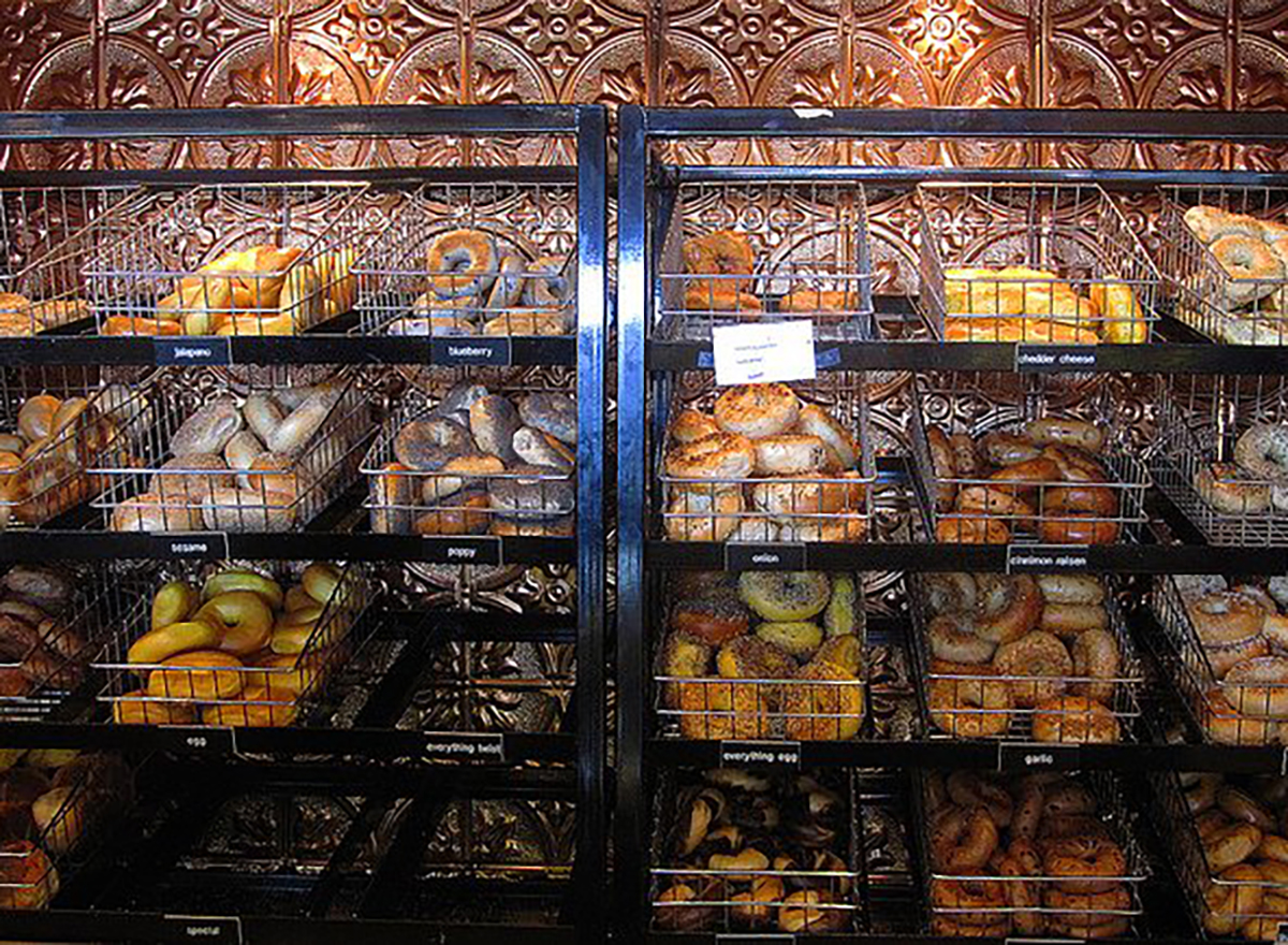 bagels in baskets at store