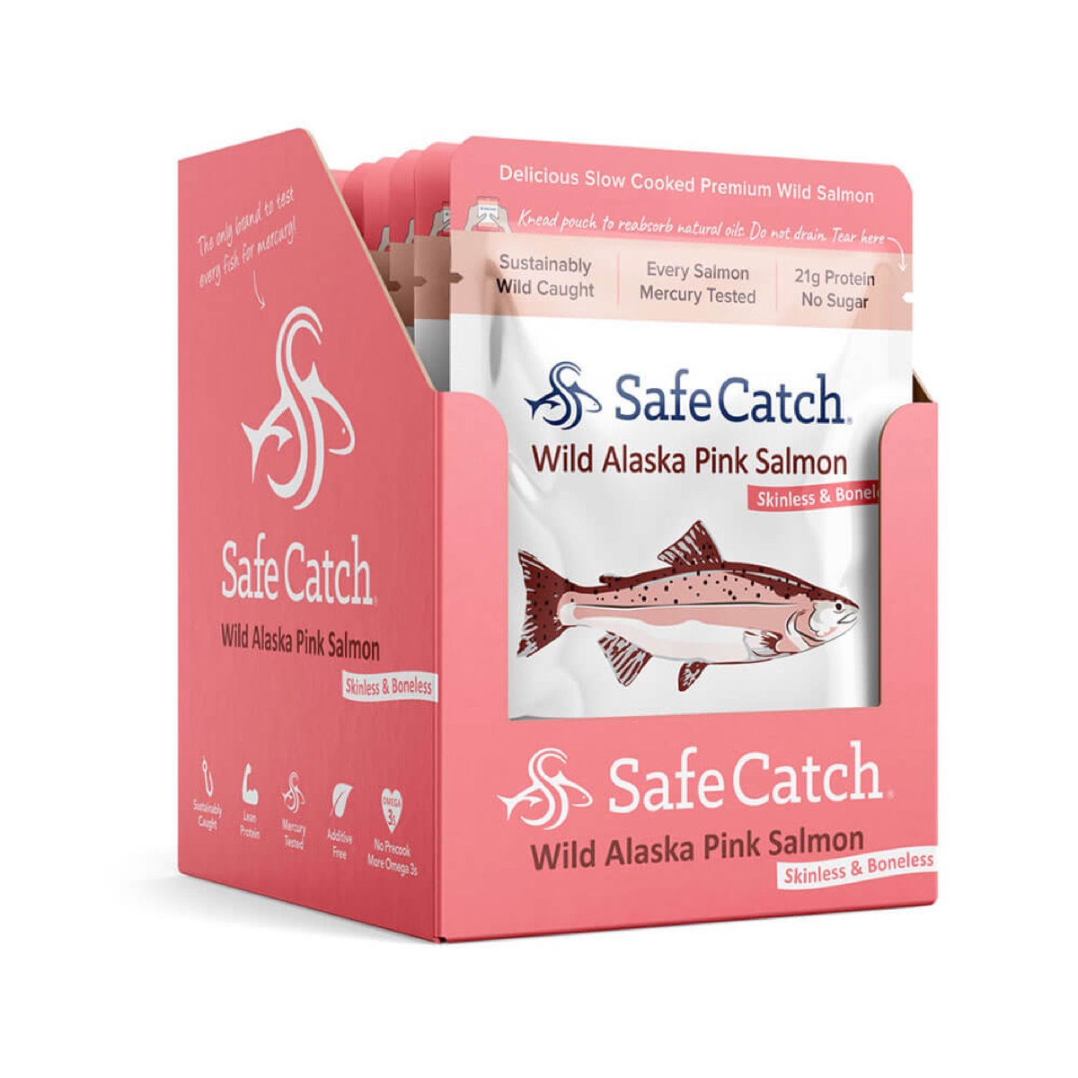 cardboard box full of pink packages of salmon from safecatch