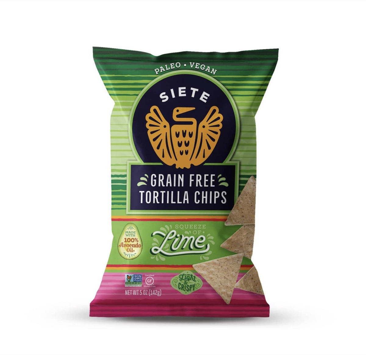 bag of grain free siete tortilla chips in lime on white background