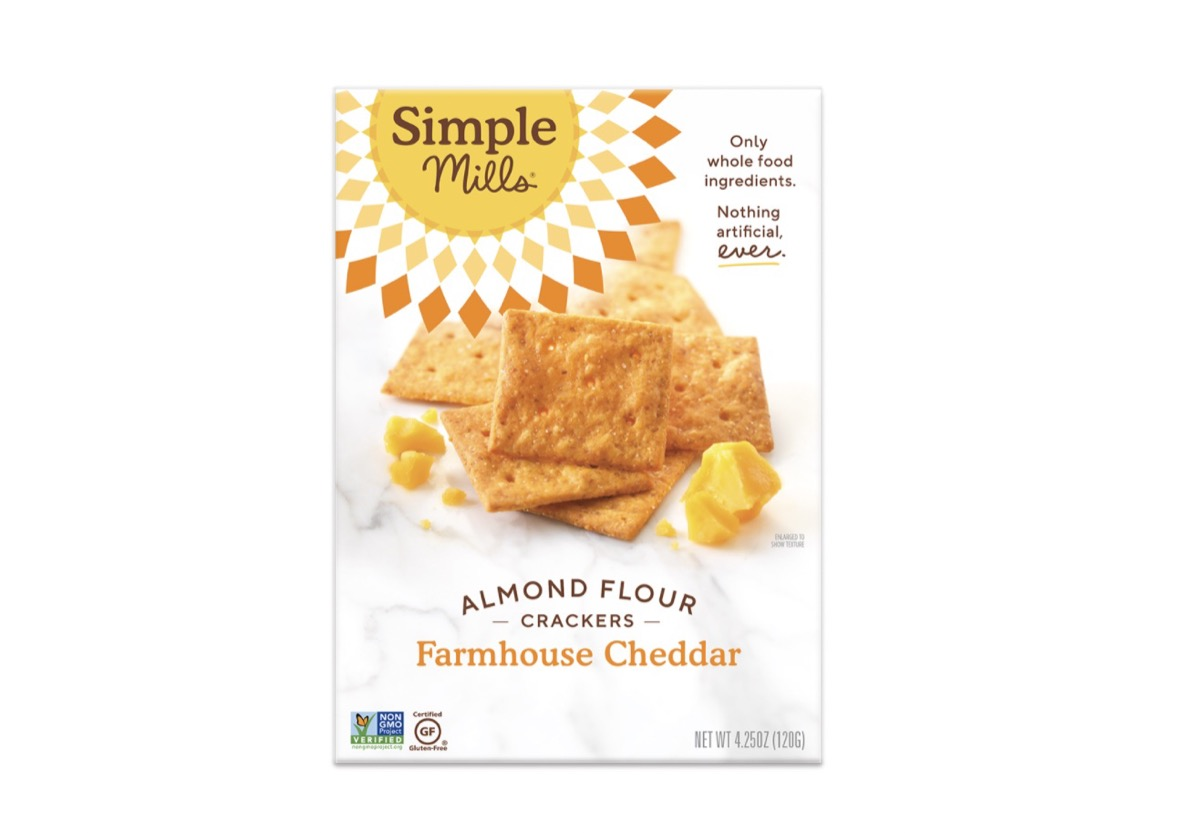 box of almond flour crackers in farmhouse cheddar flavor from simple mills