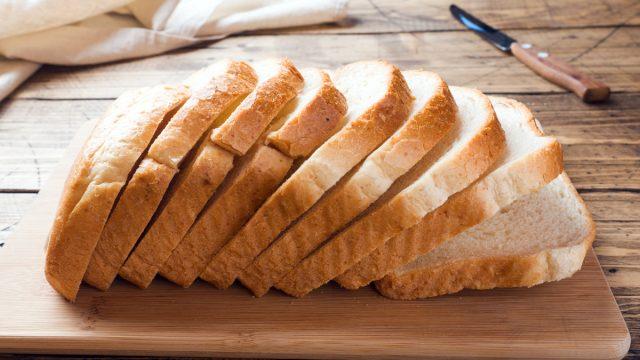 Sliced white bread loaf