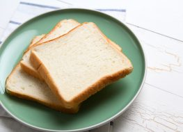 slices white bread on plate