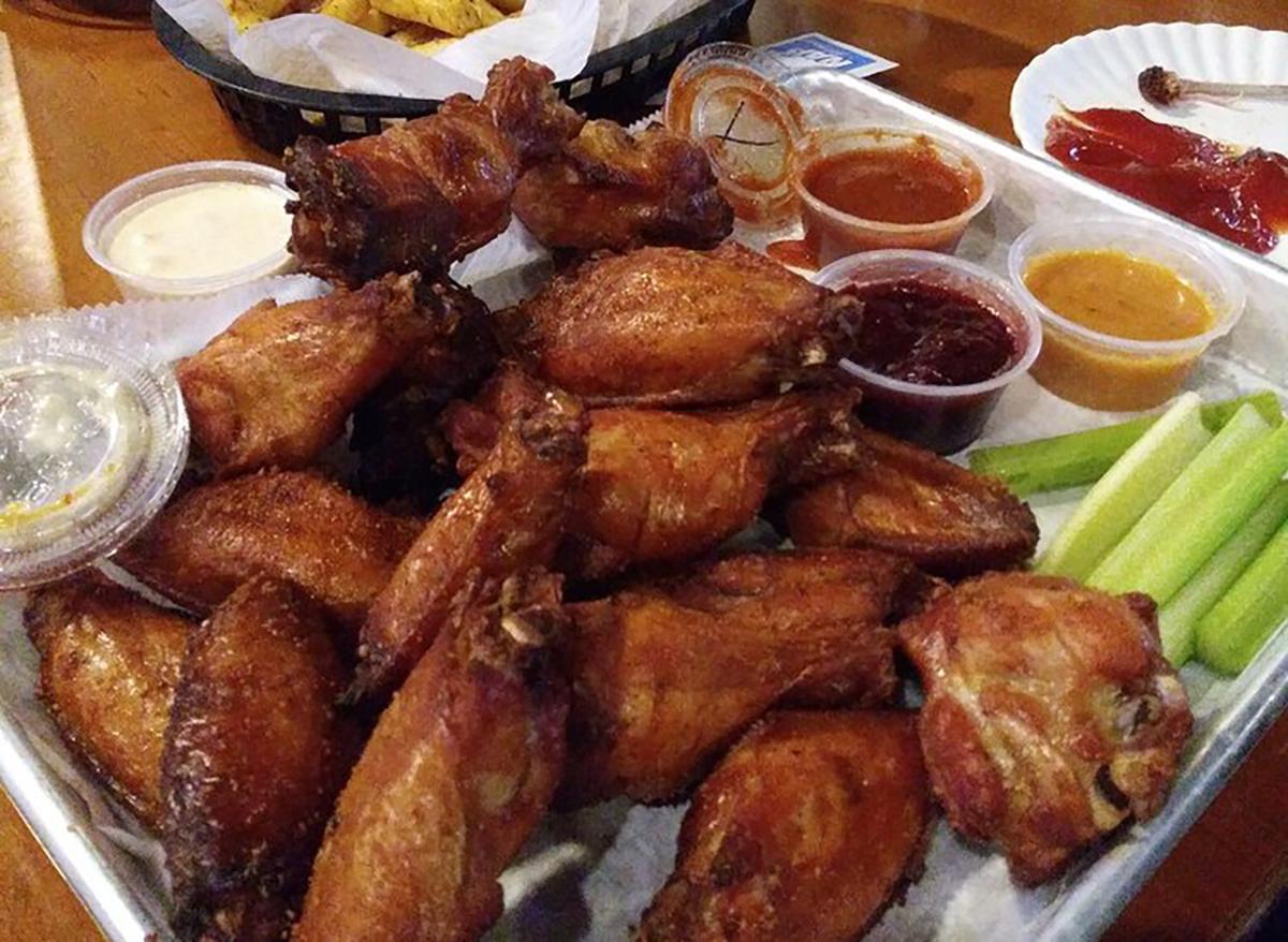 platter of smoked chicken wings