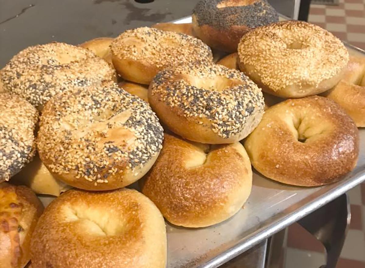 bagels in display window