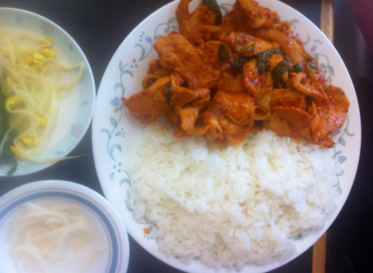 spicy korean chicken with rice