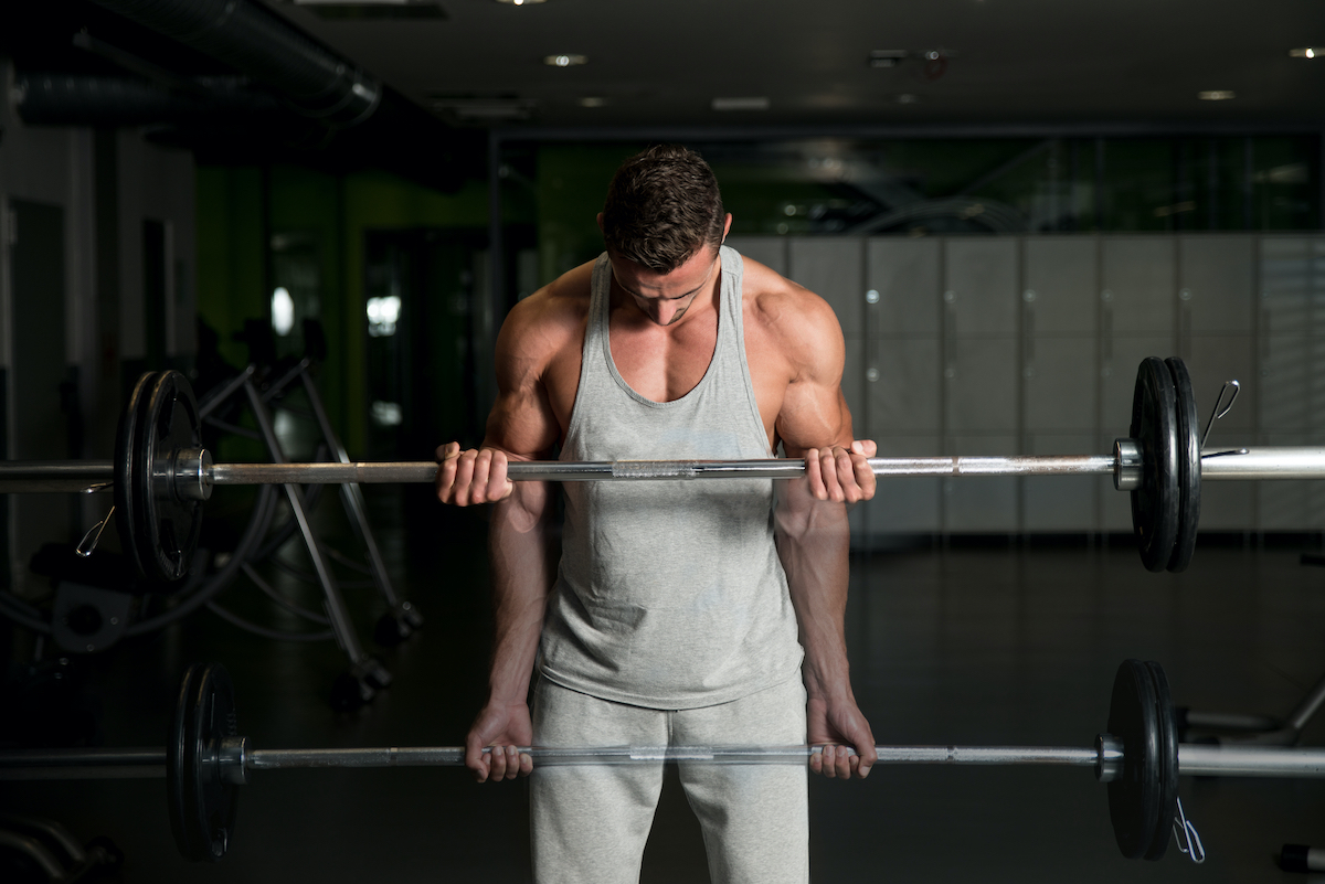 Showing How To Train Biceps. Young Athlete In The Gym Performing Biceps Curls With A Barbell