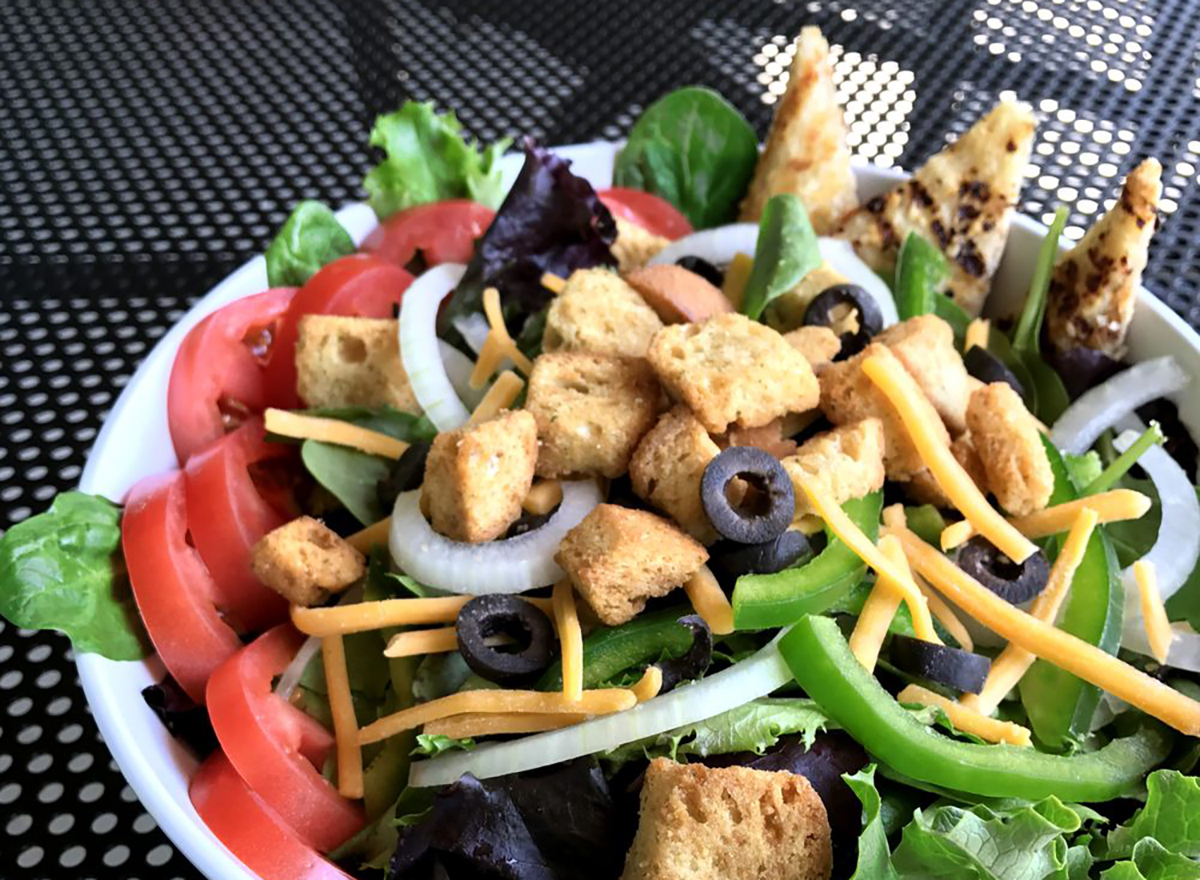 veggie salad with olives and croutons