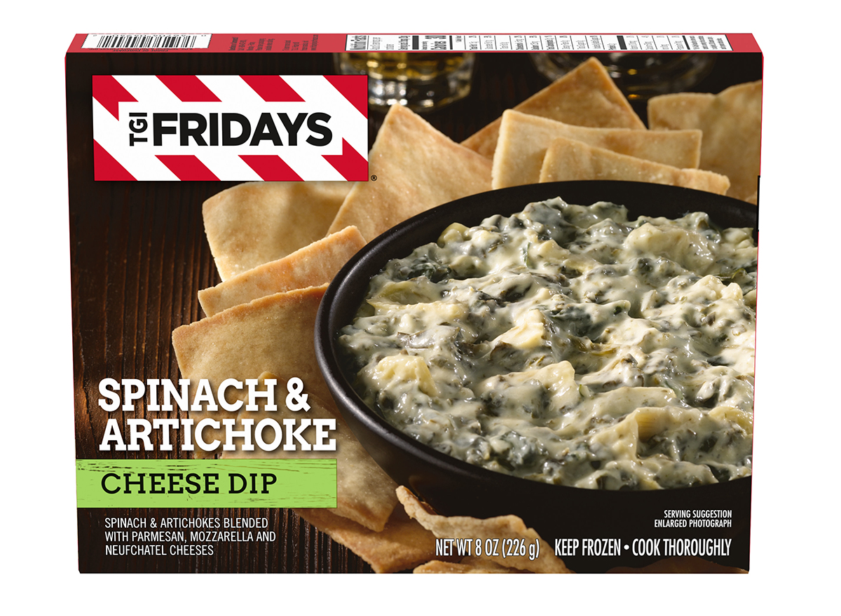 box of frozen tgi fridays spinach artichoke cheese dip