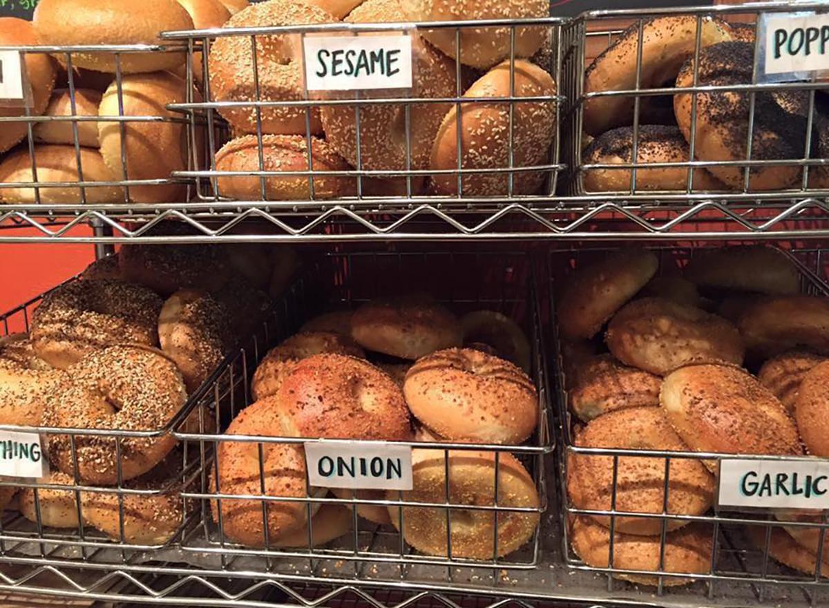 bagels in display case